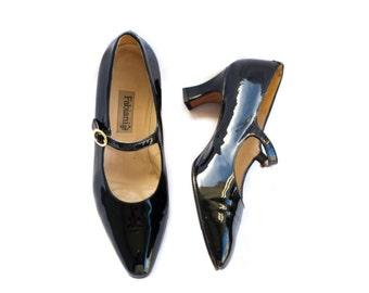 Italian black patent leather Mary Janes from Fabiani EU SIZE 36 // US 6
