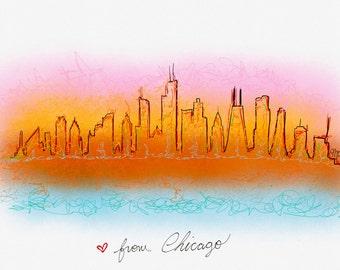 Chicago Skyline Postcard Digital Painting Art