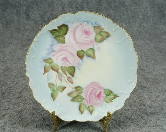Vintage Hand Painted Plate with Flower Design