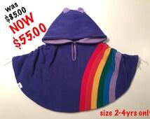 Baby & Kid Purple Rainbow Fleece Poncho