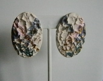 Round Oval Plaster of Paris Pierced Earrings - Multi Colored
