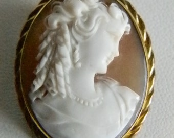 Vintage Antique MARBRO Cameo Art Nouveau Pin Brooch Pendant  Hand Carved Shell 1/20 12 K GF