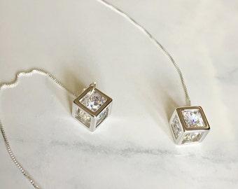 Sterling Silver Zircon ear threader earrings, chain earrings, ear threads everyday jewelry, gift for her, minimal jewelry, girl friend gift,