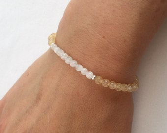 Citrine and Moonstone bracelet with Sterling silver, moonstone jewellery, gift for her, girlfriend gift, gemstone bracelet, Citrine bracelet
