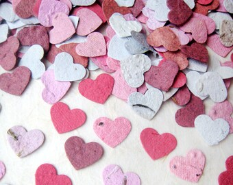 100 Seed Paper MINI Hearts Confetti - Tiny Plantable Paper Hearts - Your Choice Color