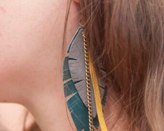 Leather feathers earrings. Feather earring. Leather earrings. Boho earrings. Leather leaf earrings. Leather wings earrings