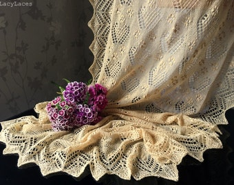 100% Cashmere wool Light Biscuit Handknitted Traditional Estonian Lace, Haapsalu Shawl
