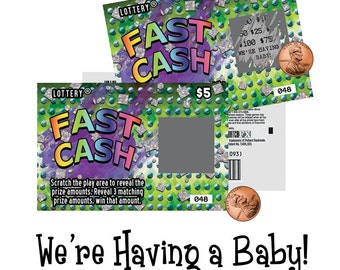 Pregnancy Announcement / We're Having A Baby / Surprise Pregnancy Announcement / Scratch Ticket / Lotto Replica