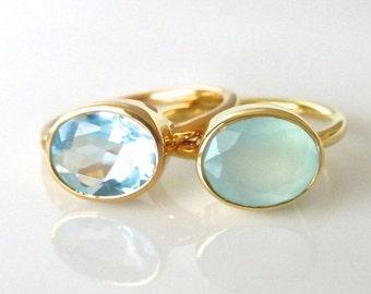 Oval Gemstone Ring - Gold Ring - Stackable Ring - Aqua Ring - Bezel Ring