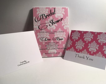 Pretty in pink Bridal Shower Invitation with Thank You cards