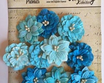 Paper flower, Petaloo Premier Darjeeling Collection Tea Stained Teal Paper Flower Dahlia, flower scrapbook embellishment