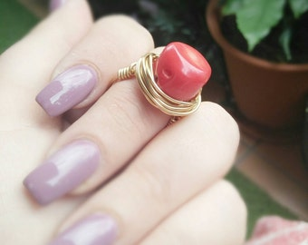 Red Coral Ring- Coral Silver Ring- Coral Gold Ring- Coral Jewelry- Coral Jewellery- Red Gemstone Ring- Red Gemstone Jewelry- Coral Gemstone