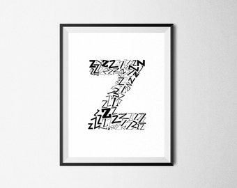 Z Print, Alphabet Print, Z Nursery Art, 8x10 Digital Download