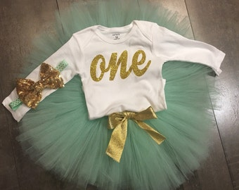 Mint and gold birthday tutu set, pink and green of birthdsy tutu set, you choose