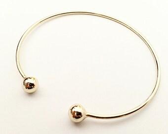 Double twin balls gold vermeil bangle bracelet cuff, 925 sterling silver