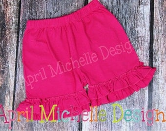Girls Ruffle Shorts, Hot Pink Ruffle Shorties, Bright Pink, Knit shorts girls, boutique shorts with ruffles, Hot Pink Shorts, Ready to Ship