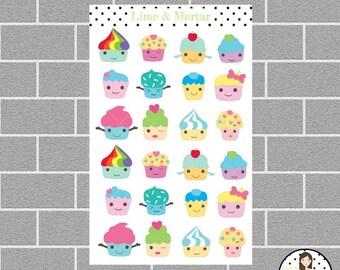 Kawaii Cupcake Planner Stickers