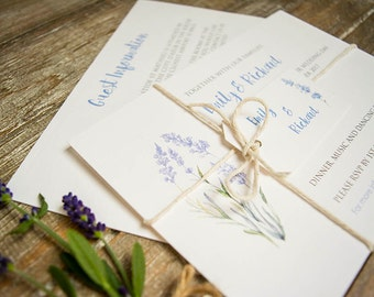 Lavender wedding invitation with twine and tag / country wedding / barn wedding / France / Provence / watercolour