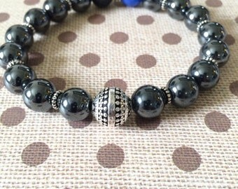 Hematite and Blue Agate stretchy Beaded Bracelet