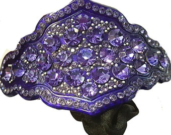 New Purple Violet Lacquer Floral  With  Amethyst Crystal 2'' Ponytail Tie