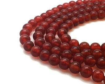 6mm Natural Red Agate Beads Round 6mm Red Agate 6mm Red Beads 6mm Red Gemstone 6mm Red Stone Mala 6 mm Red Agate