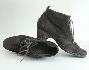 Womens 9.5 Brown Leather Ankle Boots