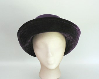 Womens Purple Large Turned Up Brim Hat