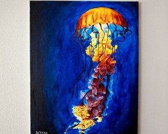 Original Acrylic Painting / Colorful Glowing Jellyfish / Acrylic on Canvas / Beach Art Wall Decor
