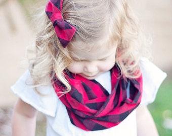 Hair Bow, Baby Bow, Hair Bows, Fabric Hair Bow, Hair Clip, Girls Hair Bows, French Barrette, Alligator Clip - Red and Black Buffalo Plaid