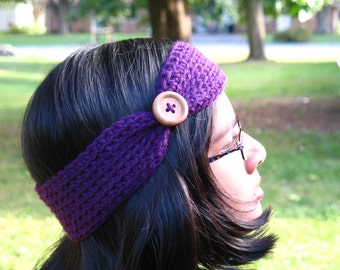 Crochet Head Band With Button/ Ear Warmer