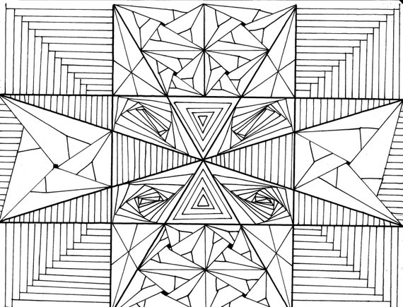 Triangles Triangles Everywhere Zentangle Coloring Page Pdf