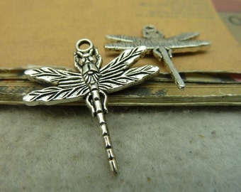 10 Dragonfly Charms Antique Silver Tone  - DYS4361