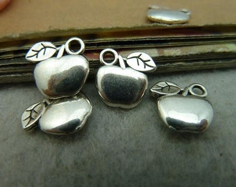 BULK 50 Apple Charms Antique Silver Tone Two Sided - DYS3002