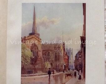 1907 Cambridge Market Street & Holy Trinity Church England Art Print Antique Engraving Vintage Lithograph Edwardian Watercolor Matthison