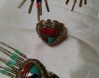Heart Shaped Southwestern Jewelry 3 Piece Set, Sterling Silver, with Inlaid Turquoise, Coral and Natural Stone Design