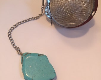 Turquoise Tea Ball Infuser ~ Natural Stone Loose Leaf Tea Infuser ~ Cute Tea Infuser ~ Howalite Tea Steeper