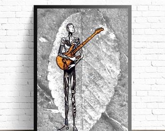 Guitar Illustration, Guitar Wall Art, Jazz Wall Decor,Music Home Decor, Music Art Print, Rock Music Poster Print, Guitarist Painting
