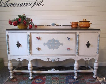 SOLD*********Painted buffet/sideboard/media center, county buffet, farmhouse buffet/sideboard, vintage buffet