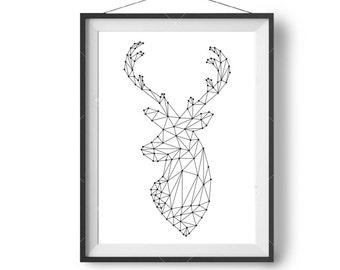 Geometric Deer Art, Scandinavian Print, Simple, Minimalist, Home Decor, Black & White, Printable Art, Downloadable Poster, Abstract Wall Art