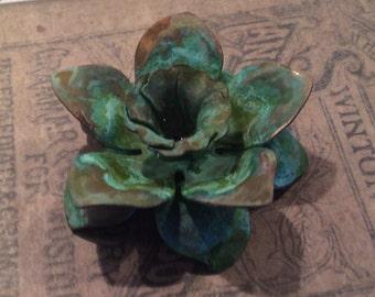 Verdigris brass floral pendant 1 pc