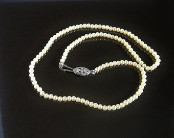 Vintage Necklace Miniature Faux Pearls Choker Length Perfect Item for Young Teen Classic Styling Simple and Beautiful