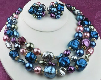 Vintage Metallic Nugget Teal Blue & Pink Variations of Color Demi Set Necklace and Clip Earrings Signed Japan
