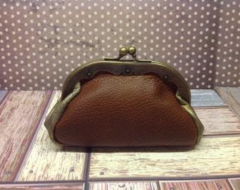 Little Leather Purse, Little Leather Wallet, Retro Style Kisslock Little Purse
