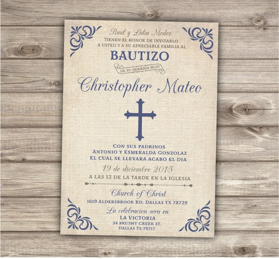 Spanish Printable Baptism Christening Invitations Burlap Cross