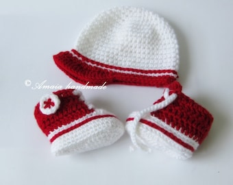 Cap&sneakers for baby,sneakers for newborn,set for baby, crochet set for baby,crochet sneakers,crochet cap for baby,red sneakers,booties