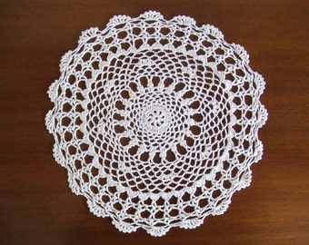 Vintage Hand Crocheted White Cotton Doily