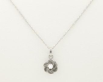 Petite diamond SOLITAIRE PENDANT with fine chain; 585/14 KT white gold