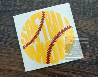 Softball Mom Decal | Sports Mom | Softball Decal | Softball Mom Car Decal | Softball Decal for Yeti
