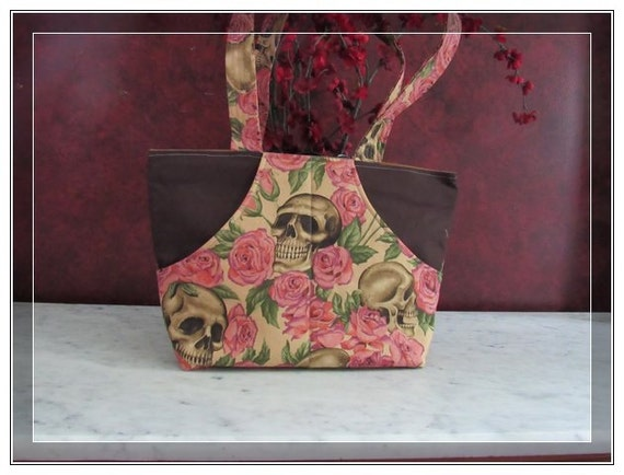 Over the shoulder pocketbook skulls and roses -  handbag inside pockets skulls and roses unique and antique tone on color