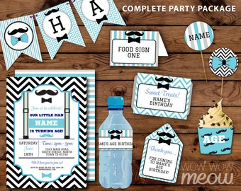 Moustache Little Man Birthday Package Mustache Invitation Printable 1st 2nd 3rd Decoration Blue Boy Collection DOWNLOAD Editable Personalize